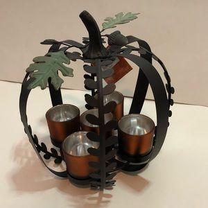 Harvest decor Metal Pumpkin Votive candle holder